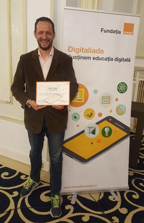 Constantin Ferseta, Fondatorul Kidibot, primind diploma pentru premiul III de la Concursul Digitaliada 2017, organizat de Fundatia Orange