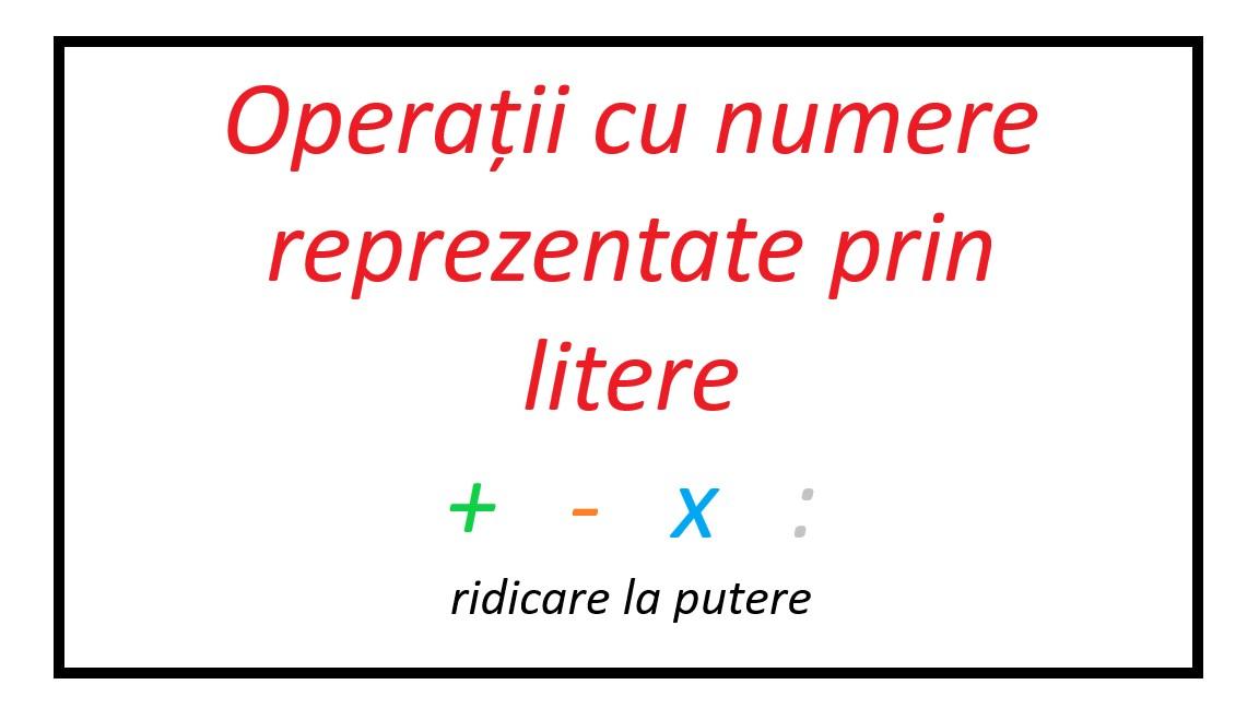 Matematică – operații elementare cu nr. reprezentate prin litere