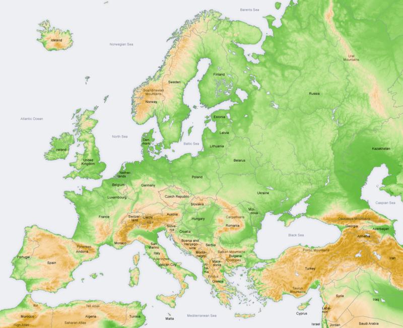 Europa-limite, tarmuri,relief