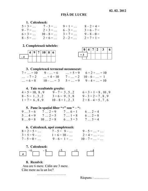 Operații matematice 0-30