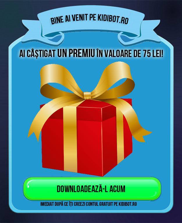 Ai câștigat un cadou în valoare de 75 de lei. Creează-ți contul Kidibot ca să-l downloadezi acum.